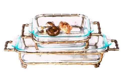 Bailey\'s Exclusives   RECT GOLD BAMBOO PYREX HOLDER $105.00