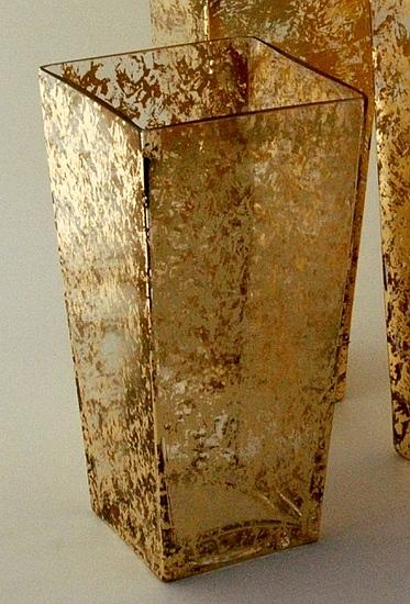 """$110.00 12"""" Tapered Gold Leaf Vase"""