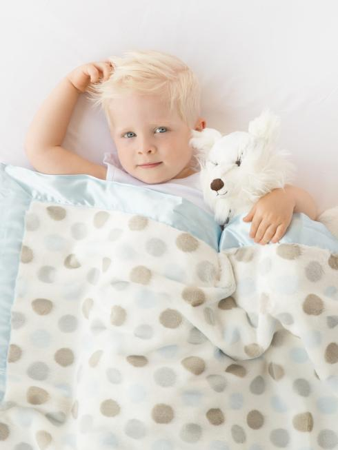 $90.00 Luxe Baby Blanket Dot Blue