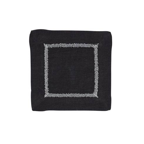 Bodrum  Flame Black/Silver Cocktail Napkin - Pack of 4 $24.99