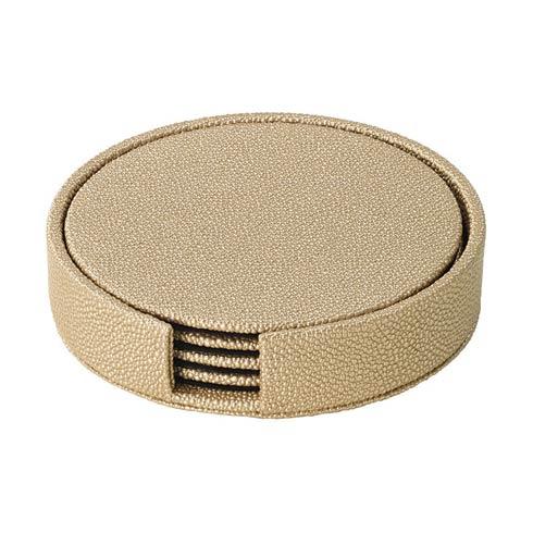 $49.50 Antique Gold Round Boxed Coaster - Set of 4