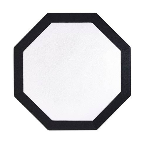 $162.00 Pure White Black Octagon Mats - Pack of 4