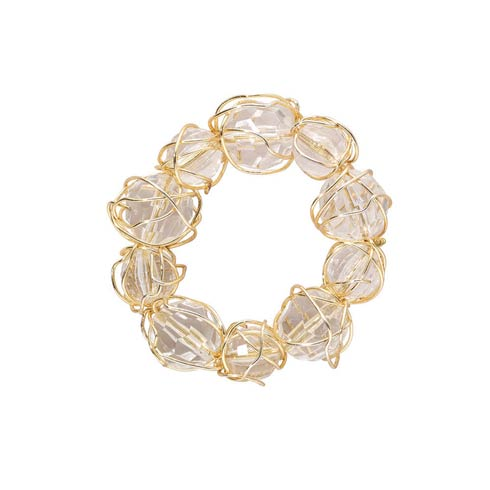 Bodrum  Crystal Baubble Gold Napkin Ring - Pack of 4 $50.00