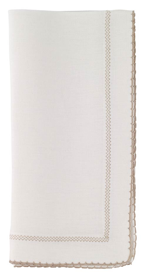 "Bodrum  Picot White/Beige 22"" Napkin - Pack of 4 $117.00"