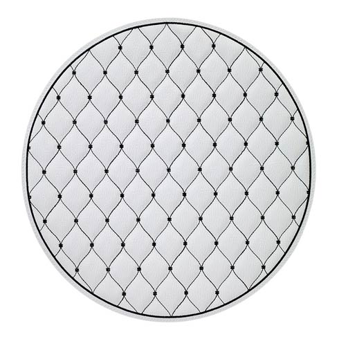 """$114.99 Pure White/Black 15"""" Rd Mat - Pack of 4"""