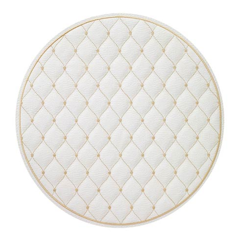 """$144.00 Antique White/Gold 15"""" Rd Mat - Pack of 4"""