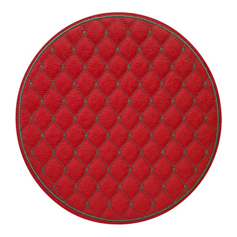 """$144.00 Red/Evergreen 15"""" Rd Mat - Pack of 4"""