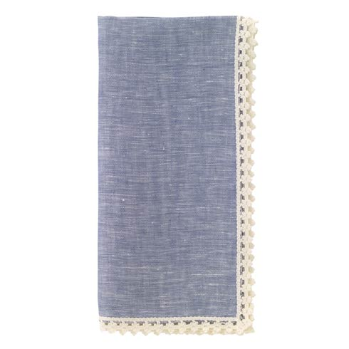 "Bodrum  Verona Bluebell White 22"" Napkins Pack of 4 $62.99"