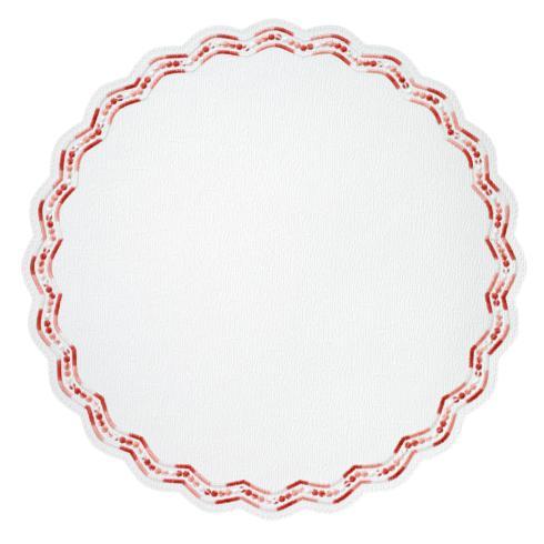 """$153.00 Belgravia Red 15"""" Round Mat"""