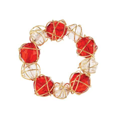$50.00 Red & White Napkin Ring Pack of 4