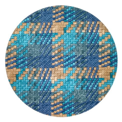 "$104.00 Nantucket Blue Turquoise 15"" Round Mat"