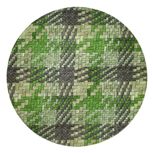 """$104.00 Nantucket Green Gray 15"""" Round Mat"""