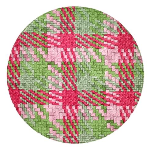 """$104.00 Nantucket Green Pink 15"""" Round Mat"""