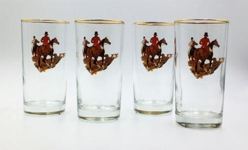 Richard E Bishop   Hunt Scene Highballs 4/set $49.00