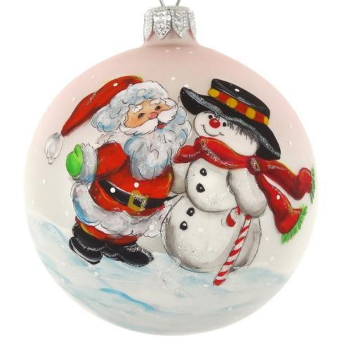 "$39.95 Hand Painted Santa and Snowman European Mouth Blown & Hand Decorated 4"" Round Ornament"