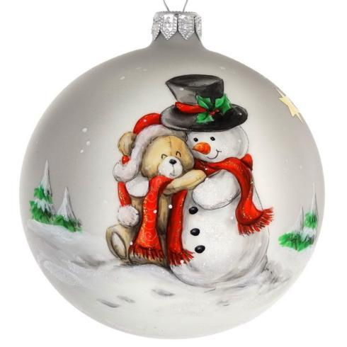 "$39.95 Hand Painted Santa and Teddy Bear European Mouth Blown & Hand Decorated 4"" Round Ornament"