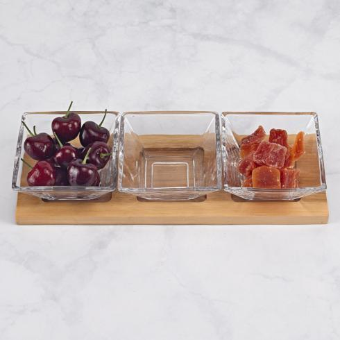 $39.95 Hostess Set - 4 pc With 3 Glass Condiment or Dip Bowls on a Wood Tray