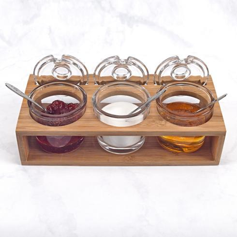 $49.95 Glass Jam Set With 3 Glass Jars and Spoons on a Wood Stand