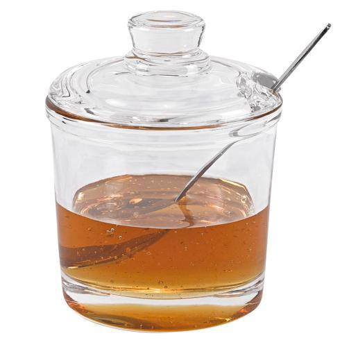 Glass Jam or Honey Jar with Stainless Spoon H4.25""