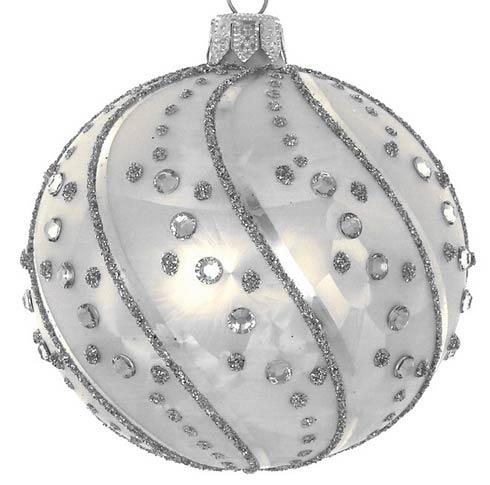 "$29.00 Silverstones Swirl 4"" Glass Ornament"