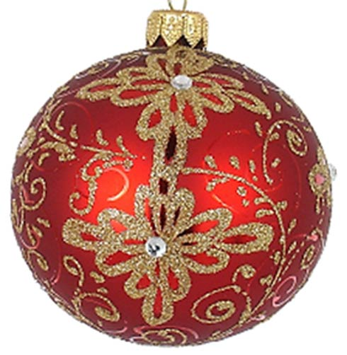 "$24.95  Matt Red/Gold 3.25"" Glass Ornament"