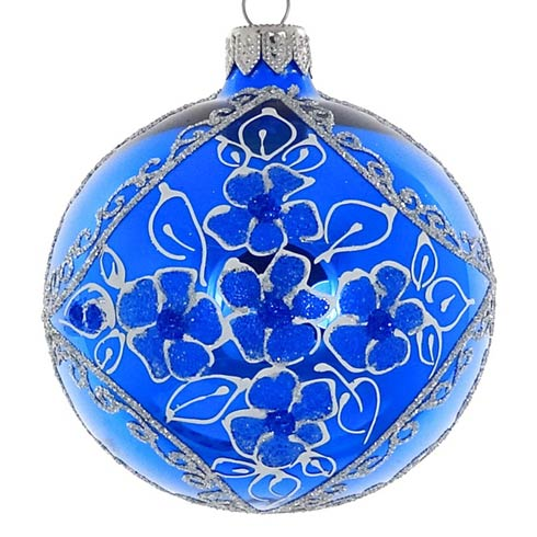 "$24.95 Shiny Blue 3.25"" Glass Ornament"