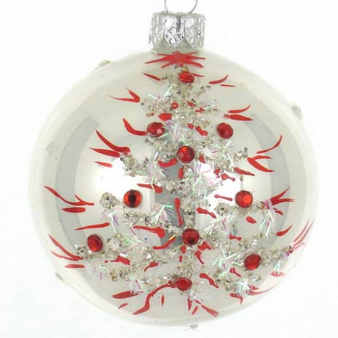 "$24.95 White W/Red Design 4"" Glass Ornament"