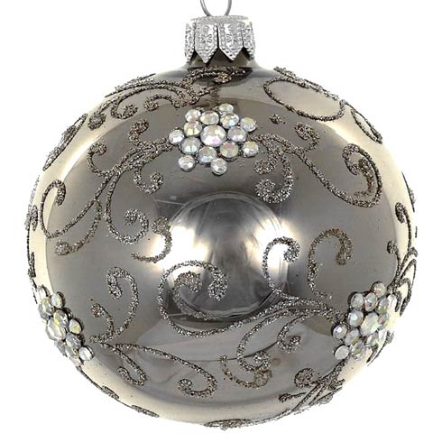"$24.95 Graphite 4"" Decorated Glass Ornament"