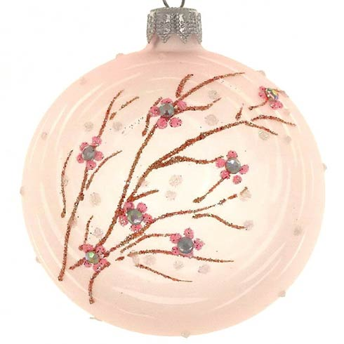 $79.00 4 Pc Set Pink Pastel Branch  Gift Boxed  Mouth Blown Polish Glass4""