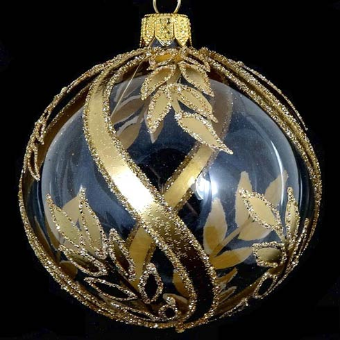 "$29.00 Gold/Clear 4"" Glass Ornament"