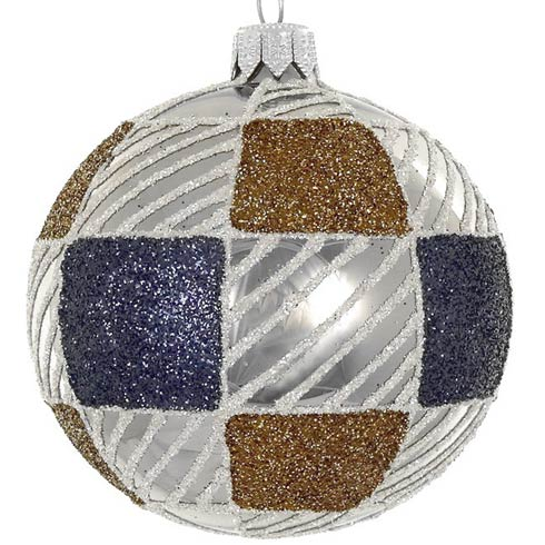 "$49.00 4 Pc Set Brown/Blue 4"" Mouth Blown Polish Glass Ornaments"