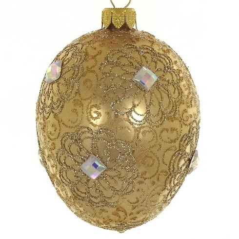 "$29.95 Gold Egg 4"" Indiviually Gift Boxed Mouth Blown Polish Glass"