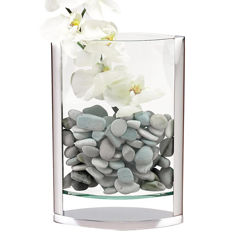 "$119.95 The Donald 12"" - A Unique Blend of Glass and Non Tarnish Aluminum Pocket Vase"