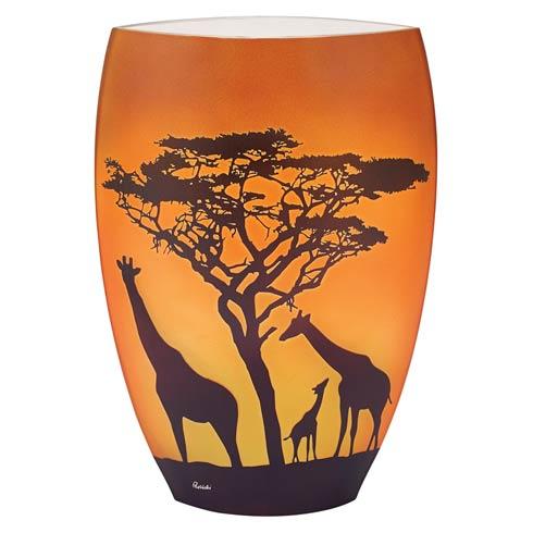 Limited Edition Savannah Giraffes European Handcrafted Blown Glass Vase 11