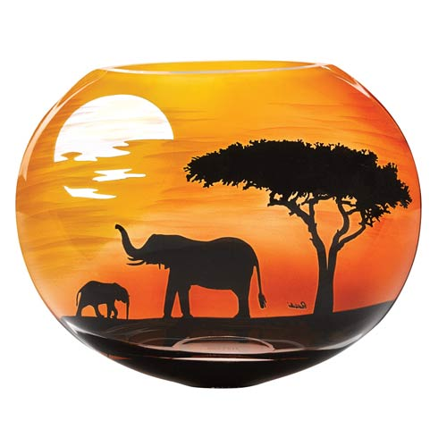 $129.00 Limited Edition Elephant Savannah European Mouth Blown and Hand Decorated Vase 9