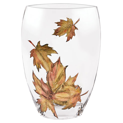 """$129.00 Limited Edition European Mouth Blown and Hand Decorated """" Leaves"""" 11 in. Vase"""
