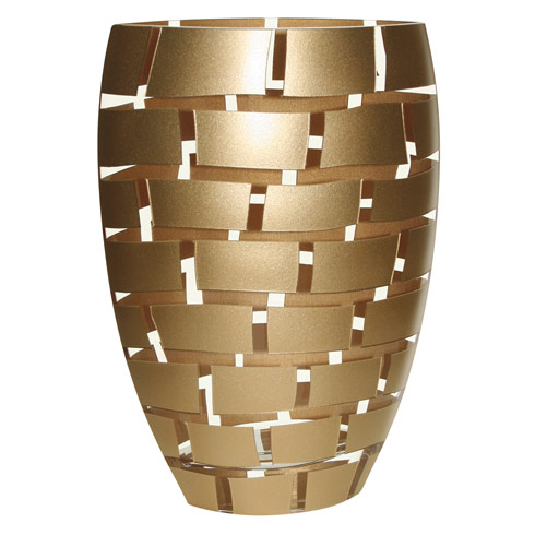 "$139.95 Gold Wall Design Mouth Blown European 12"" Crystal Vase"