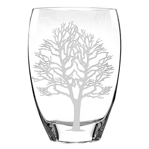 "$139.95 Tree Of Life Mouth Blown European 12"" Crystal Vase"