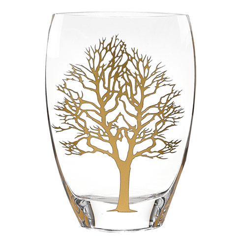 "$139.95 Gold Tree of Life European Mouth Blown 12"" Crystal Vase"