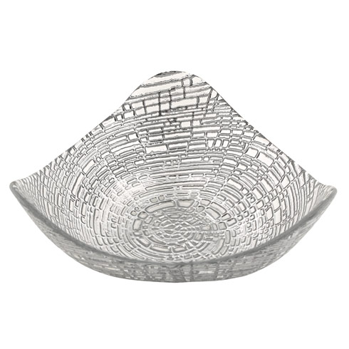 $19.75 Silver Web Triangular Hand Decorated Glass Bowl