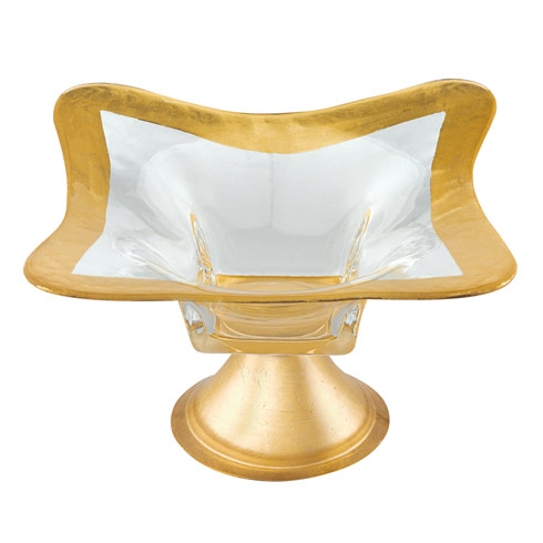 Badash  Glass Metallica Footed Gold Leaf Bowl $49.00