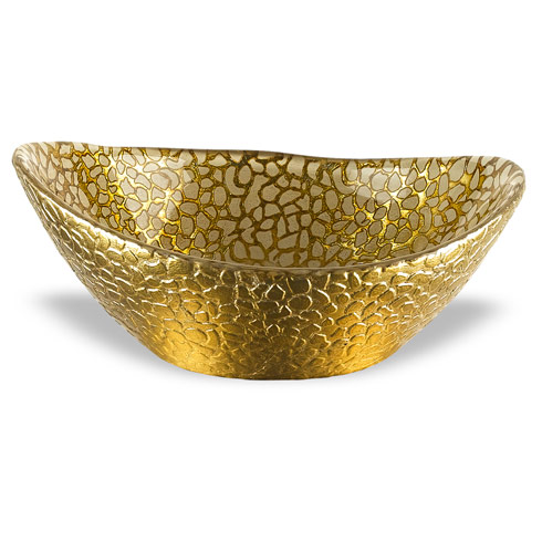 "$19.00 Gold Snakeskin 6"" Oval Bowl"