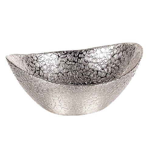 "$19.00 Oval Silver Snakeskin 6"" Bowl"