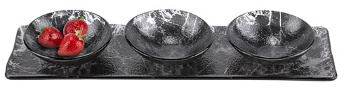 "$59.00 Hostess 4 pc Set in Black Marble Glass Decor L18""x5"""