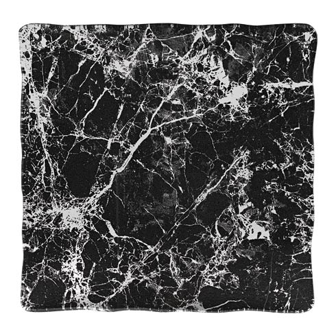 """$45.00 Handcrafted Glass Black Marble Design 12"""" Square Serving Tray or Platter"""