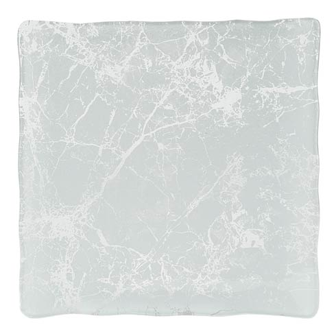 "$45.00 Handcrafted Glass White Marble Design 12"" Square Serving Tray or Platter"