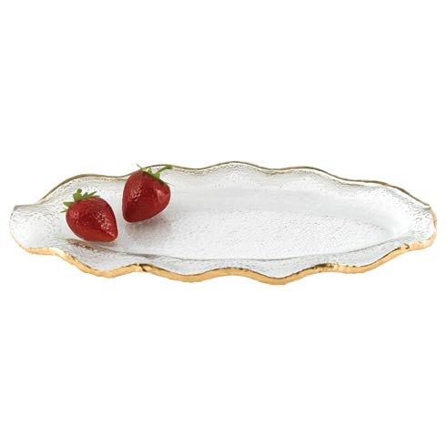 "Badash  Goldedge & Silveredge Serve Ware Hand Decorated Gold Leaf Edge Wavy Oval  Mouth Blown Glass 14 x 7"" Platter $54.95"