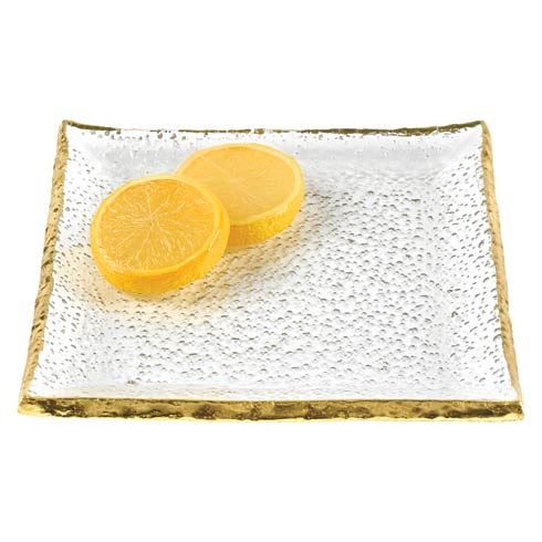 """$25.00 Gold Edge Hand Painted Mouth Blown Glass 5"""" Square Plate"""