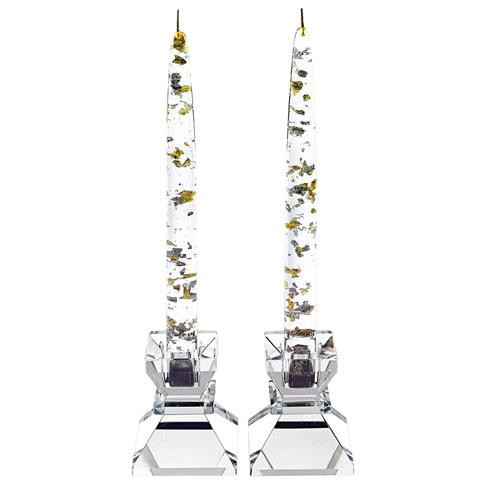 """$89.00 A Dozen Silver/Gold Fleck Acrylic Decorative 10""""  Candles"""