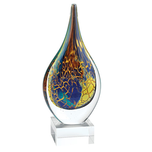 "$89.95 Firestorm Murano Style Art Glass 11"" Teardrop on Crystal Base"
